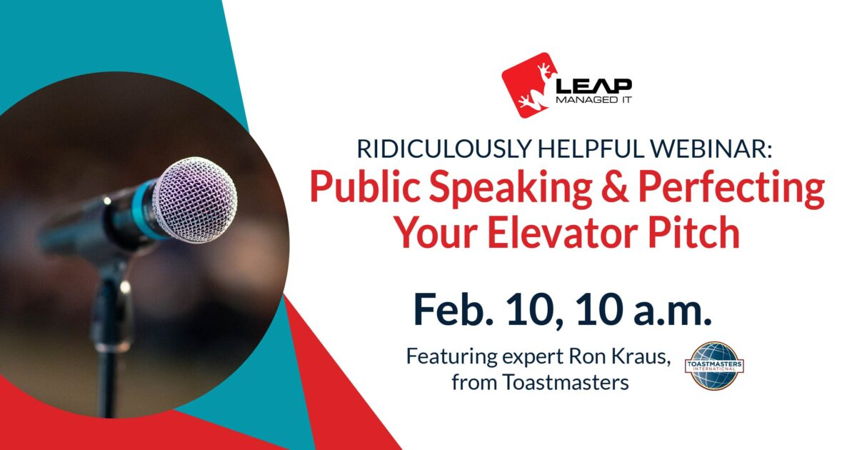 Public Speaking & Perfecting Your Elevator Pitch